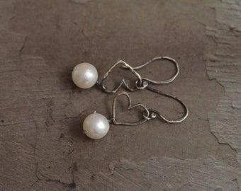 Sterling Silver Open Heart Earrings - Japanese Akoya Pearl Earrings - Oxidized Silver Earrings