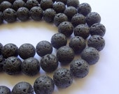 "14mm Round Natural Black Lava Rock Gemstone Beads - 15"" Strand"