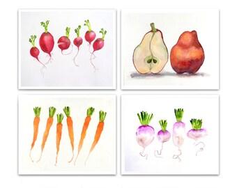Fruit Art, Kitchen Art  Print , Food Art Prints  | Sale Watercolor Prints , your choice 4 Kitchen Wall Art decor 20% off set of 4 LaBerge r