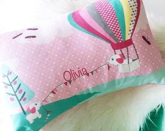 Girls Elephant & Hot Air Balloon personalised cushion