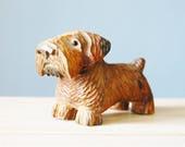 1940s Carved Wood Terrier Dog Figure Vintage 1950s Folk Art Glass Eyes