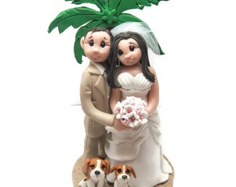 Custom cake topper, Destination wedding cake topper, Bride and Groom with dogs cake topper, Mr and Mrs cake topper, personalized cake topper