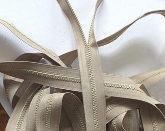 YKK Beige tooth number # 5 zipper  continous tooth zippers 5 yard length great for sewing handbags zippered pouches  continuous tooth zipper
