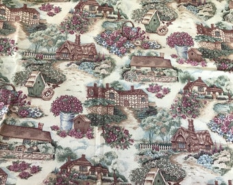 1 Yard of Country Cottages Print Cotton Fabric