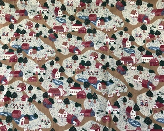 2 Yards of Country Cottages Print Cotton Fabric