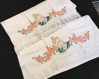 Pair of Vintage White Cotton Blend Pillowcases with Painted Embroidery Praying Hands & Lace Trim