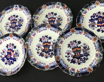 Set of 6 Vintage Cobalt Blue or Flow Blue China Floral Dessert Plates