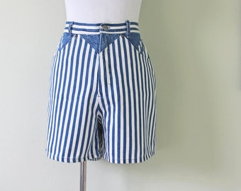 Roughrider Long Stripe Short in Denim and White