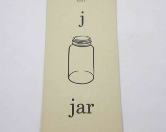 Vintage 1950s Children's School Flash Card with Word and Picture for Jar by the Gelles-Widmer Co.