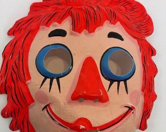 Vintage halloween Mask raggity ann children mask, halloween decor,