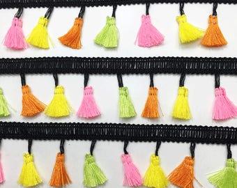 3 to 6 yards Multicolor  Mini Tassel Trim Tassel Fringe 3.5 cm - Choose your own yards -  Neon Bright Pink Yellow Orange Green Black