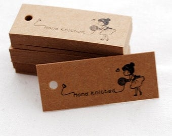 50 Count - Kraft Paper Knitting Tag - Gift Tag - Hand Knitted
