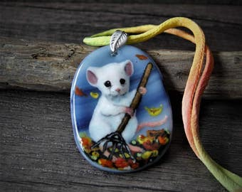 The mouse gardener Necklace, fused glass pendant, fall mouse