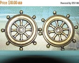 On Sale Vintage 1970's Costume Jewelry Ship's  Wheel Nautical Embellishments, Earrings, Pendant, Necklace Jeweler Supplies 15c