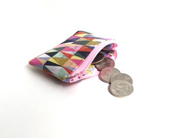 tiny pastel zipper pouch. flash drive jewelry pouch small. earbud case holder. hearing aid pill pouch. party favor