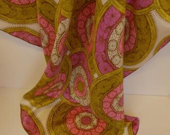 "Vintage Vera Silk Scarf - Large Square 31"""