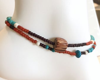 Wood, Turquoise, Burnt Orange Brown Stretch 2x Wrap Anklet, Stackable, Layering Accessory, Summer Spring Jewelry, Boho Bohemian, Beach Beads