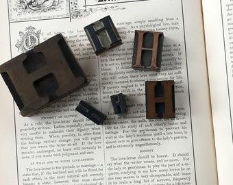Type Set Letter H Letter Wood Block Initial Vintage lot of 6