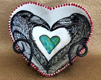Raven Lovers Heart Bowl with Turquoise Heart for Table and Wall Art Ceramic Hand Painted Original