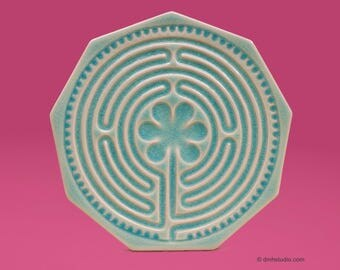 Chartres Finger Labyrinth Petite in Pink Blush Turquoise