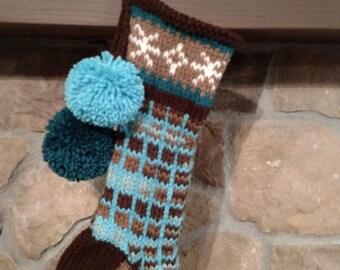 Old Fashioned Hand Knit Christmas Stocking Earth Brown Sky Blue Windowpane Snowflake & Diamond Border Santa's Stocking Works