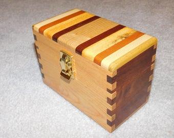 "Wood Recipe Box for 3"" x 5"" Cards - Ash & Walnut"