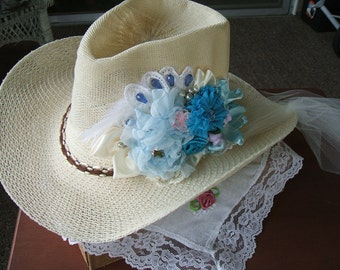 Ladies Cream Cowboy Hat,Handmade with  Handstitched Chiffon and Satin Roses with Pearls,Beads, Lace, Tulle Sash