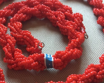 """DARK RED TWISTED.....Vintage Glass Beads (13"""")(6 pieces) Handmade Italian Beaded Connectors Necklace Bracelet"""