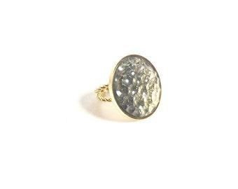 Smokey Topaz and Gold Ring, Topaz Ring, Statement Ring, Vintage Ring