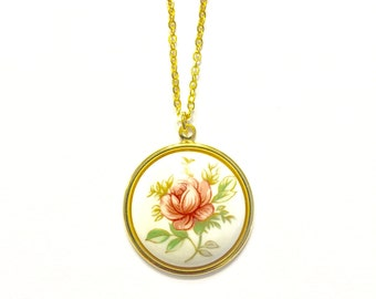 Pink Rose Limoge Necklace, Pink and White Rose Necklace,Floral Jewelry, Vintage Necklace