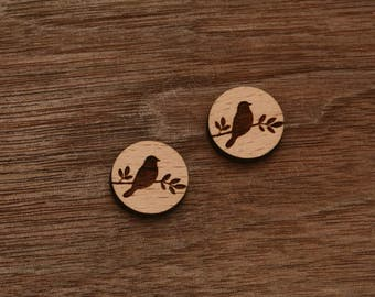 8 pcs Bird Leaf Wood Charm,Carved,Engraved,Etching,Earring Supplies,Cabochons (WC 040)