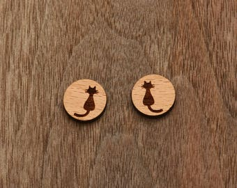 8 pcs Cat Wood Charm,Carved,Engraved,Earring Supplies,Cabochons (WC 130)