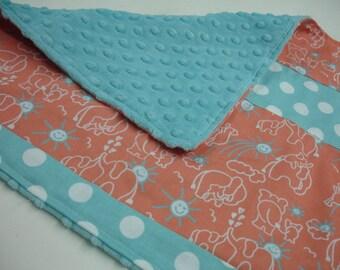 You Are My Sunshine Elephants Coral and Aqua Baby Burp Cloth 18 x 16 READY TO SHIP