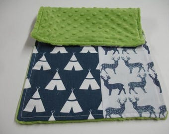 Navy Meadow Deer  and Teepees with Lime Green Minky Baby Burp Cloth 9 x 16 READY TO SHIP