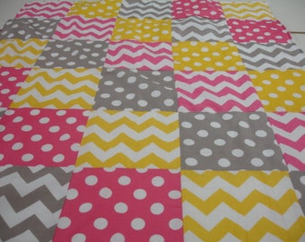 Chevrons and Dots in Hot Pink Yellow and Gray Minky Baby Blanket 32 x 38 READY TO SHIP On Sale