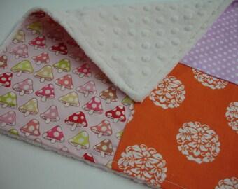 Pretty Sorbet Four Square Baby Minky Burp Cloth 12 x 12 READY TO SHIP