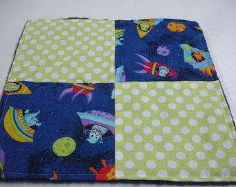 Aliens in Spaceships Four Square Baby Minky Burp Cloth 12 x 12 READY TO SHIP