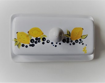 Lemon and Blueberry Butter Dish Hand Painted Lemon and Blueberry Covered Butter Dish Butter Dish With Lid