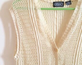 Vintage Knit Vest, Ladies Size Large, Cream, Neutral, Acrylic Button Down Vest, 1970's