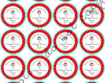 "INSTANT DOWNLOAD / Nurses Appreciation Week RN 2"" printable Party Circles / Cupcake Topper / Stickers / Thank You Tags"