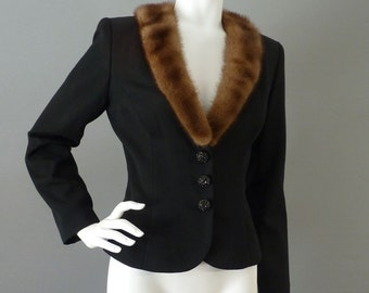 Mink Collar Jacket | Vintage Victor Costa 90s Does 70s Does 40s Black Dress Evening Clothing