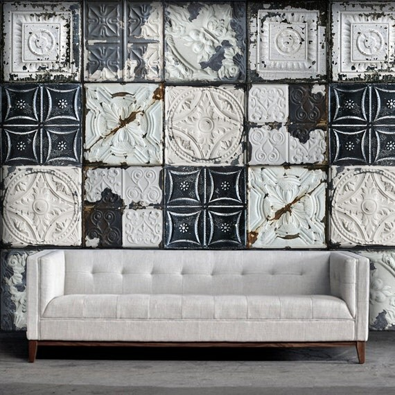 Do S Don Ts For Decorating With Black Tile: Shabby Chic Tin Tile Easy Peel And Stick Wallpaper 8