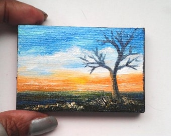 """Mini Oil Painting Sunset 2""""x 3"""" READY to SHIP"""