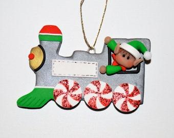 Elf in Train Polymer Clay Christmas Ornament Personalization
