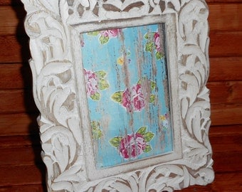 Pretty White washed Rustic Wood Picture Frame, Very Chic Rustic white Frame