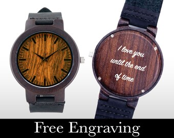 Wooden Watch, Engraved Watch, Wood Watch, Engraved Wood Watch, Dark Wood, Personalized Gift, Christmas, Gifts For Him