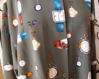 Vintage Plus Size 1X Norton McNaughton Watch Clock Blouse Shirt Olive 1980's  Free US Shipping