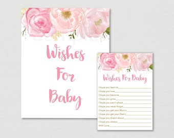 Soft Pink Floral Wishes for Baby Cards / Floral Baby Shower / Floral Advice Cards / Watercolor Floral / Printable INSTANT DOWNLOAD A170