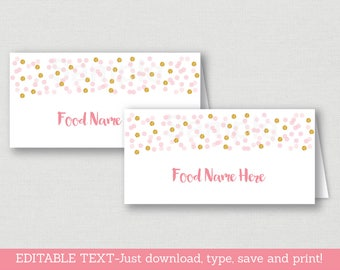 Blush Pink & Gold Food Tent Cards / Place Cards / Glitter Bridal Shower / Glitter Dots / Confetti / INSTANT DOWNLOAD Editable PDF B109