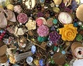 Lot D - Studio Destash- One Pound Jewelry Supplies Lot - Cameos Antiqued Brass Charms Beads Vintage and New